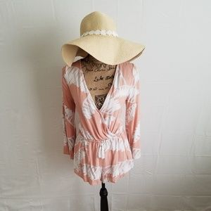 Peachy Palm Frond Romper